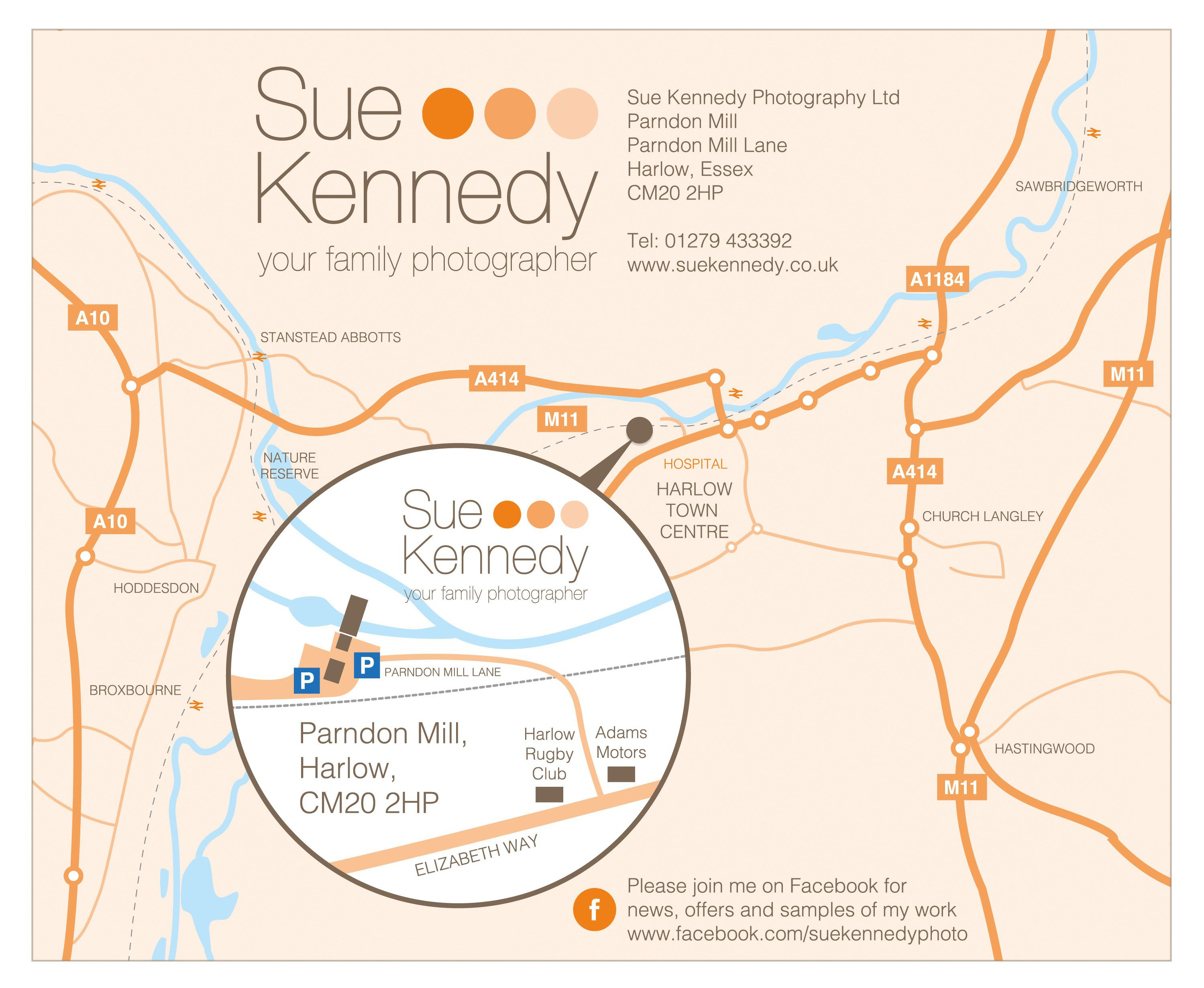 Map of directions to Sue Kennedy Photography at Parndon Mill, Harlow, Essex, CM20 2HP