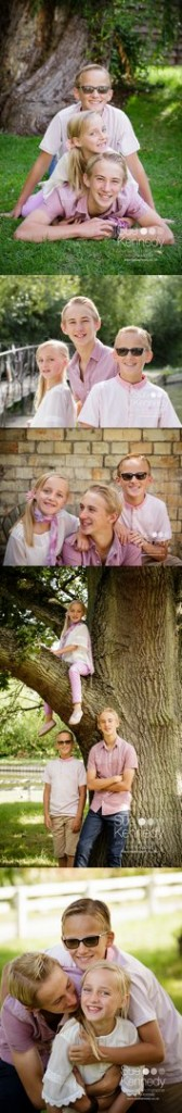 Outdoor photo session with three children, composite of several images
