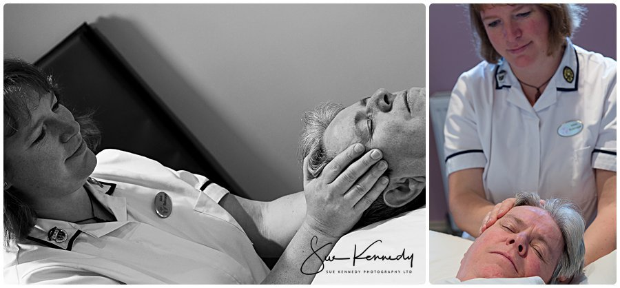 Photographs showing Nikki from Holisticare who specialise in Myofascial Release working on a patient.