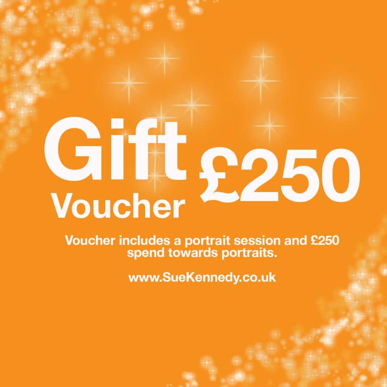 Image of a £250 gift voucher from Sue Kennedy Photography ltd