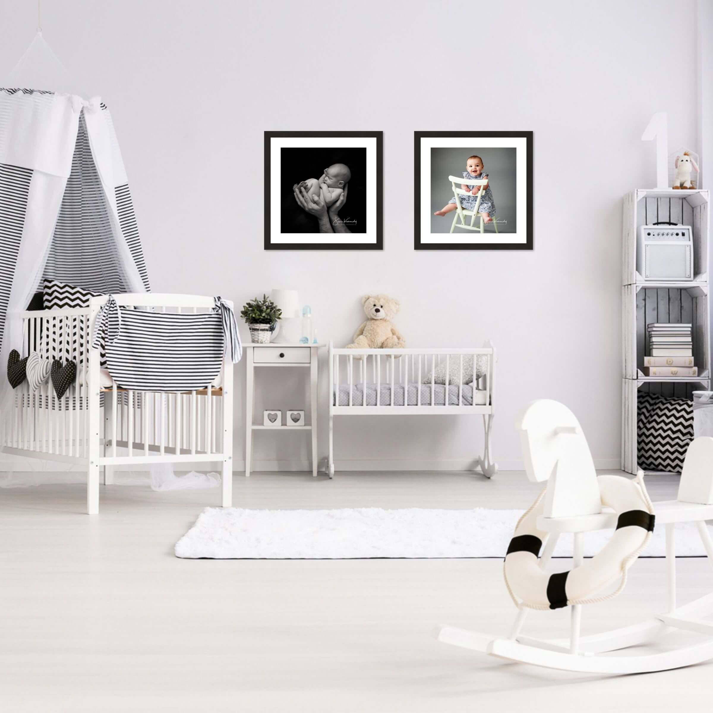 Nursery room scene with wall art
