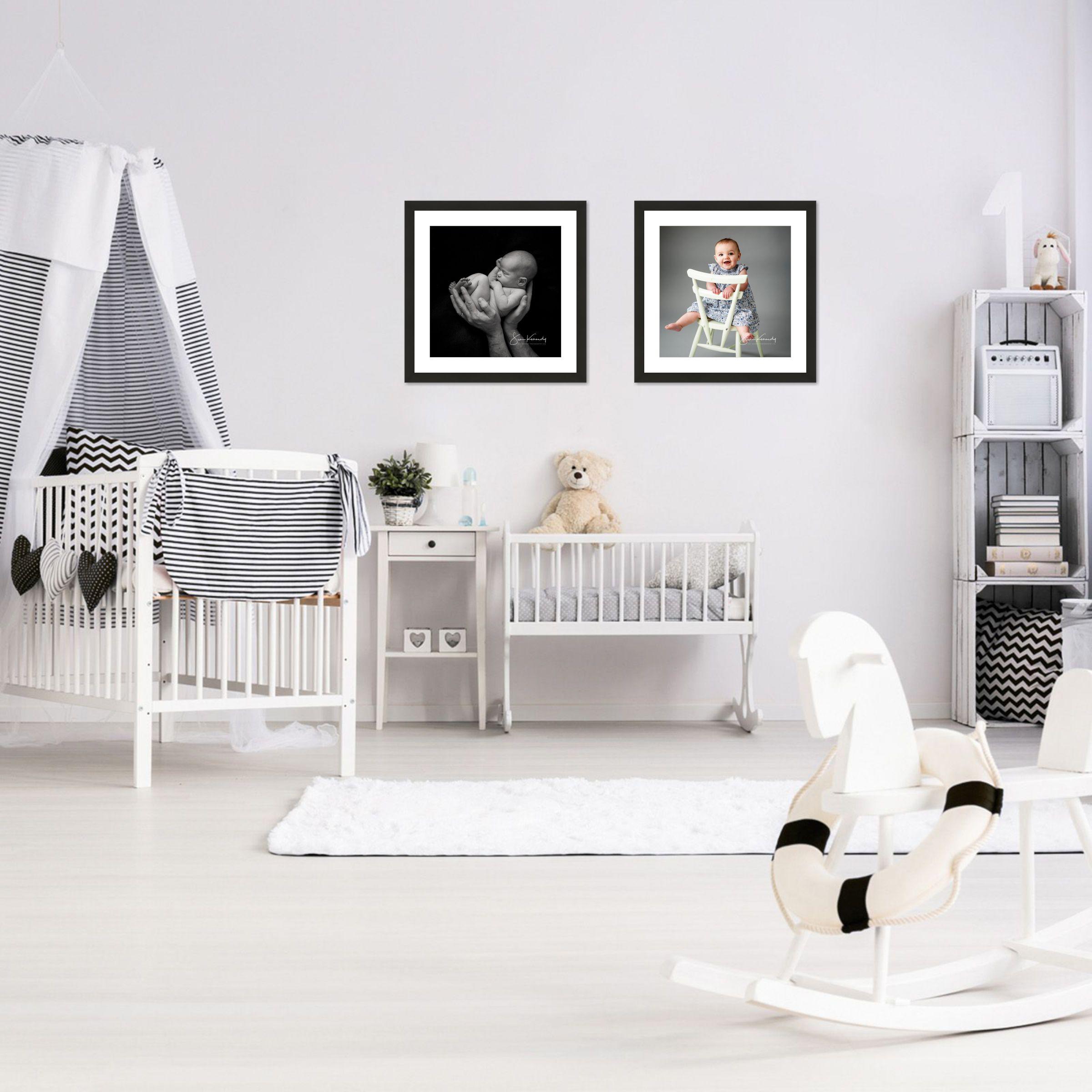 nursery room scene with photography wall art